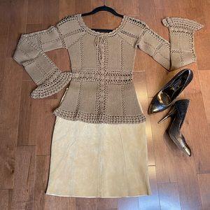 DANIER genuine Suede yellow beige mini skirt